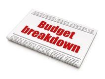 Finanzkonzept: Zeitungsschlagzeile Budget-Zusammenbruch stock abbildung