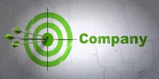 Finanzkonzept: Ziel und Firma auf Wandhintergrund Stockfotos
