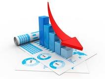 Finanzkrisekonzept, Wirtschaftskrise Geschäftsfall, Wiedergabe 3d stock abbildung