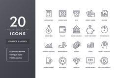 Finanzlinie Ikonen Stockfotos
