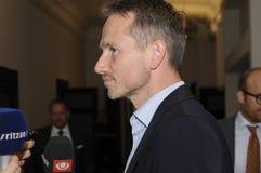 FINANZMINISTER KRISTIAN JENSEN SPRICHT MIT MEDIEN Lizenzfreies Stockbild
