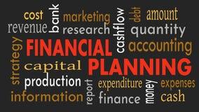 Finanzplanung, Wortwolkenkonzept auf dunklem Hintergrund Abbildung stockfotografie