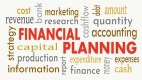 Finanzplanung, Wortwolkenkonzept auf weißem Hintergrund Abbildung stockfoto