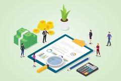 Finanzprüfungskonzept mit Geschäftsdiagramm-Finanzbericht mit Teamleuten mit Lupenanalyse - Vektor vektor abbildung