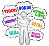 Finanzratedenker-Gedanke bewölkt Aktien-Geldanlagen Lizenzfreies Stockfoto