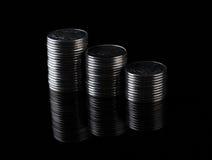 Finanzreflexion und Geschäftsgewinn Metallmünzen Stockbild