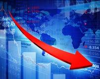 Finanzregressions-Diagramm mit Pfeil Lizenzfreies Stockfoto