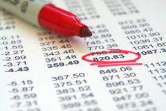 Finanzschreibarbeit Stockfoto