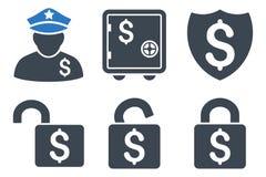 Finanzschutz Flat Glyph Icons Stockfoto