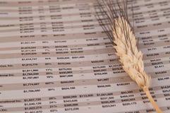 Finanzseite Verkaufsunterlagen Stockfoto