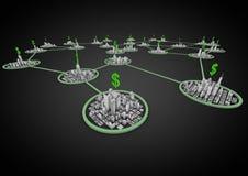 Finanzstadtnetz Stockfoto