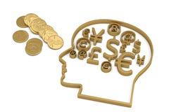 Finanzsymbole und Goldmünzen auf weißem Hintergrund illust 3d lizenzfreie abbildung