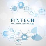 Finanztechnologieikonen mit Hexagonhintergrund Lizenzfreie Stockfotografie