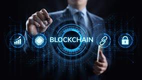 Finanztechnologiekonzept Blockchain Cryptocurrency auf Schirm lizenzfreie stockfotografie