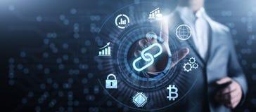 Finanztechnologiekonzept Blockchain Cryptocurrency auf Schirm lizenzfreies stockbild