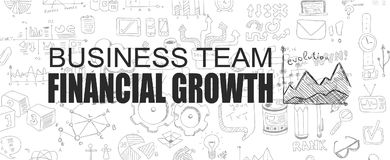Finanzwachstumskonzept mit Geschäfts-Gekritzeldesignart stock abbildung