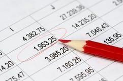 Finanzzahlen und roter Bleistift Lizenzfreies Stockfoto