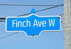 Finch avenue sign Stock Photography