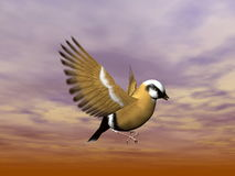 Finch bird flying - 3D render. Close up on a beautiful finch bird flying in cloudy brown sky Stock Photos