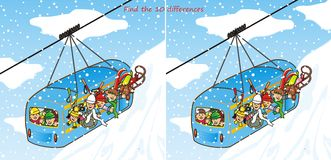 Find the 10 differences. Find ten differences in the figures. Children ride a cable car to the mountain Stock Photography