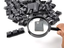 Find. Spreading of computer keys with white background Royalty Free Stock Photos