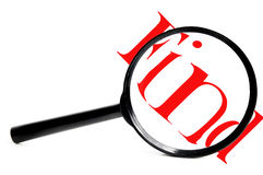 Find it. Magnifying glass with red find, on white Stock Photography