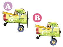 Find the 7 differences. Game for children's: Spot 7 differences between these two images Stock Illustration