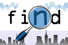 Find. Abstract colorful background with the word find behind a magnifying glass. Searching concept Stock Photo