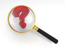 Find answers. Magnifying glass and question mark Stock Photos