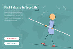 Find balance in your life - banner. Vector template of concept - Find balance in your life. Hand drawing illustration of businessman on the rope with balance Royalty Free Stock Photos