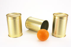Find the ball under the tin can Royalty Free Stock Images