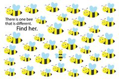 Find bee that different, spring fun education puzzle game for children, preschool worksheet activity for kids, task for the stock illustration