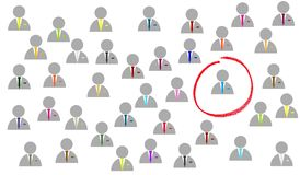 Find best male bussiness applicant. Illustration of many business Mene with red circle around best Expert Royalty Free Stock Images