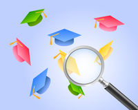 Find the best university master. Vector illustration of graduation hats flying on blue background with a magnifying glass above, related to students looking Royalty Free Stock Photos