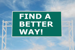 Find a Better Way! concept. 3D illustration of FIND A BETTER WAY! script on road sign Royalty Free Stock Photo