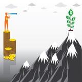 Find big money or money tree concept design. Men find money tree by binocular design concept Stock Photography