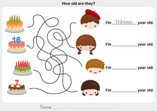 Find birthday cake and write the correct answer Royalty Free Stock Images