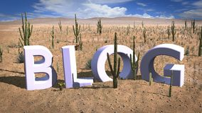 Find a blog niche desert sand concept. Finding a niche concept 3D illustration with the letters blog standing in the hot sand of the desert Stock Images