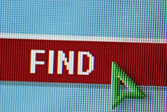 Find Button. Close-up from monitor with green arrow cursor pointing to Find button royalty free stock photography