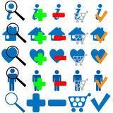 FIND BUY OK ADD MORE HOME SHOPPING FAVES Icon Set. In blue. 25 useful symbols to mix and match Royalty Free Stock Images