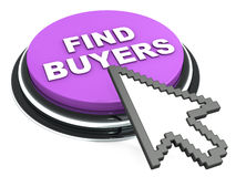 Find buyers. Finding buyers with ease of a button click, a button with text and mouse clicking it against white background Stock Photography