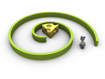 Find the cheese. Mouse trying to find a piece of cheese inside a spiral maze stock illustration