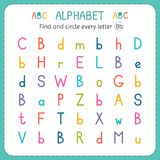Find and circle every letter B. Worksheet for kindergarten and preschool. Exercises for children Stock Photos
