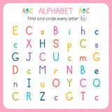 Find and circle every letter C. Worksheet for kindergarten and preschool. Exercises for children Royalty Free Stock Photos