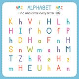 Find and circle every letter H. Worksheet for kindergarten and preschool. Exercises for children. Vector illustration Stock Photos