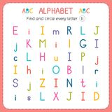 Find and circle every letter I. Worksheet for kindergarten and preschool. Exercises for children Royalty Free Stock Images