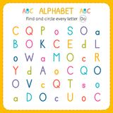 Find and circle every letter O. Worksheet for kindergarten and preschool. Exercises for children. Vector illustration Stock Photos