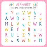 Find and circle every letter W. Worksheet for kindergarten and preschool. Exercises for children. Vector illustration Royalty Free Stock Photography