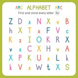 Find and circle every letter X. Worksheet for kindergarten and preschool. Exercises for children Stock Images
