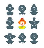 Find the clown shadow puzzle game Stock Photo